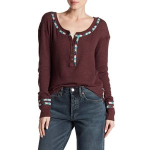 Free People Rainbow Embroidered Henley Thermal Tee